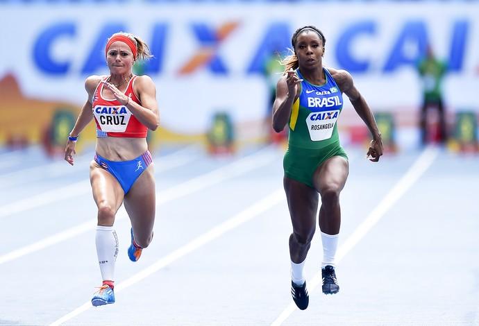 Rosângela Santos na prova dos 100m no evento-teste de atletismo no Engenhão (Foto: Wagner Carmo/CBAt)