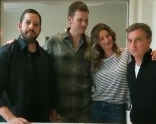 Gisele Bündchen e Tom Brady encontram Luciano Huck em Boston (Foto: Divulgação)