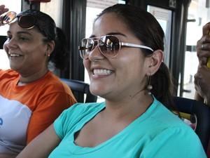 Nayara Cavalcante, de 29 anos, disse que gostou da dupla de comediantes (Foto: Fernando Brito/G1)
