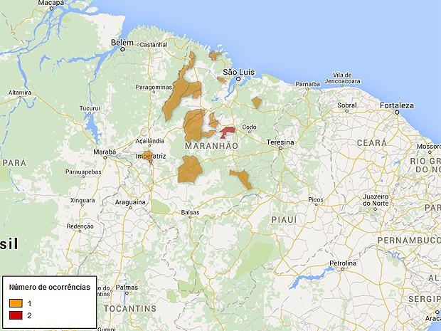 Mapa de arrombamentos a bancos no Maranhão, atualizado nesta terça-feira (31) (Foto: G1)