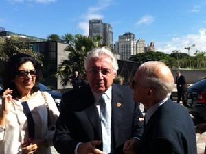 Vice-governador de São Paulo, Guilherme Afif Domingos, chega a evento em São Paulo (Foto: Roney Domingos/ G1)