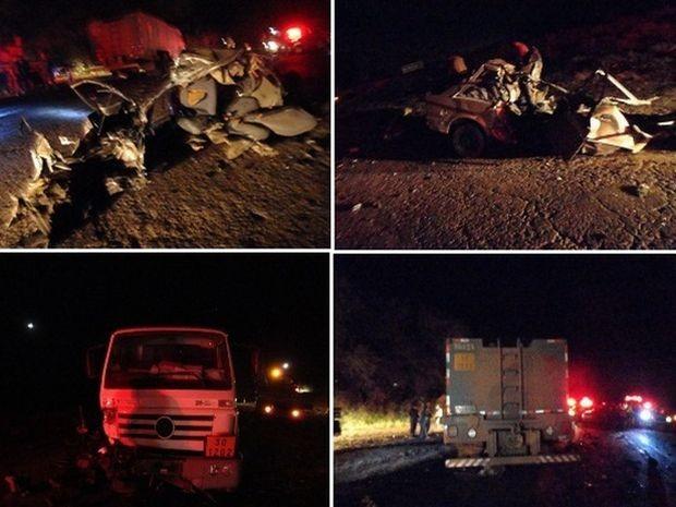 Quatro pessoas morreram no acidente entre o carro e o caminhão.  (Foto: Imagens cedidas pela Polícia Rodoviária)