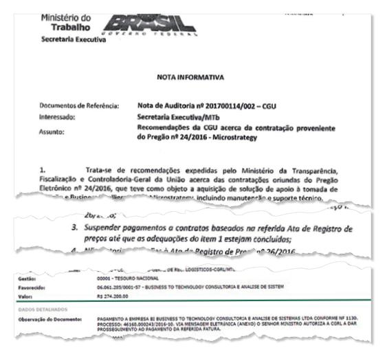 O ministro Ronaldo Nogueira, o indicado, e o deputado Jovair Arantes (ao fundo), o padrinho, e trecho de documento. Com o apoio de Arantes, Nogueira ignora recomendações contra corrupção (Foto: reprodução)