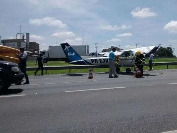 Segundo a concessionária, pouso causou congestionamento em rodovia (Foto: Rafael Fachim/TV TEM)