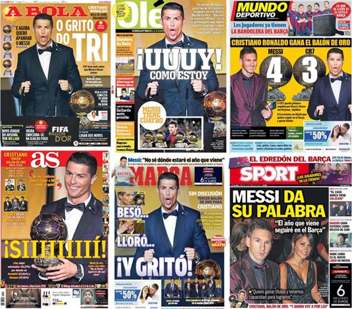 Repercussão Jornais da conquista do Cristiano Ronaldo CR7 (Foto: Editoria de Arte)