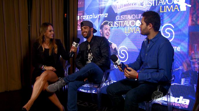 Gusttavo Lima conversou com Pedro e Aline e contou tudo sobre o novo DVD (Foto: reprodução EPTV)
