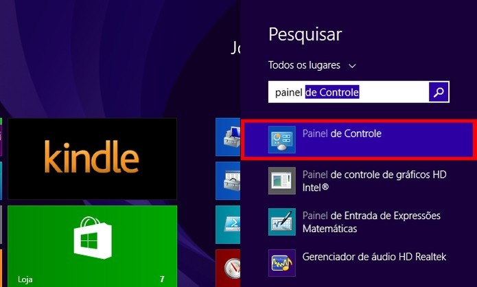 Painel de controle pode ser localizado através da pesquisa (foto: Reprodução/Windows)