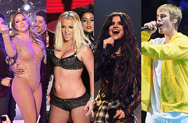 Mariah Carey, Britney Spears, Selena Gomez, Justin Bieber (Foto: Getty Images)