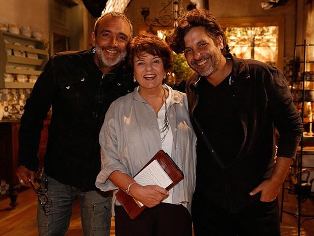 Rogério Gomes, Elizabeth Jhin e Pedro Vasconcelos posam para foto (Foto: Fábio Rocha/Gshow)