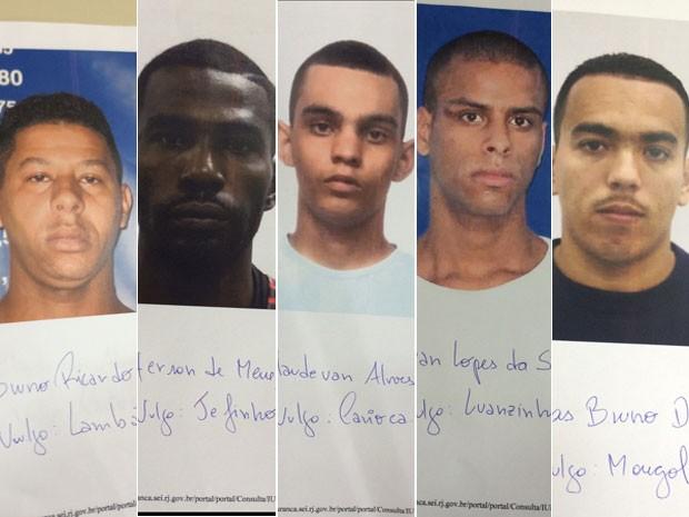 Polícia buscava suspeitos de assassinar PM; dos 5, só 'Lambão' (à esquerda) está preso (Foto: Reprodução / Polícia Civil)