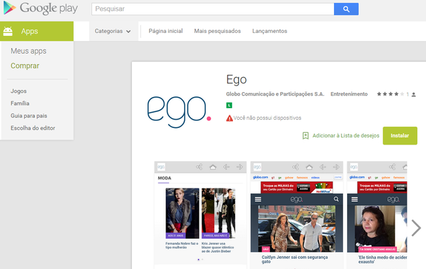 Aplicativo do EGo pode ser baixado no Google Play para Android (Foto: Reprodução)