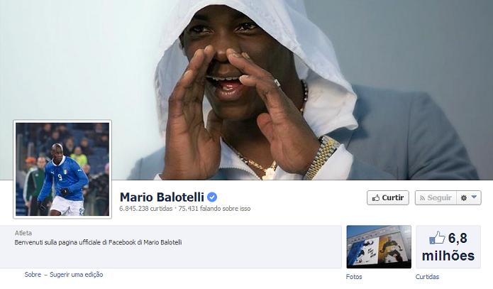 Mario Balotelli do Milan tem 6,793,521 de fãs no Facebook (Foto: Reprodução/Facebook)