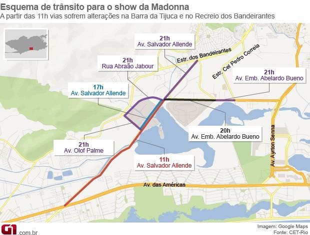 Veja esquema de trânsito para o show da Madonna (Foto: Editoria de Arte/G1)