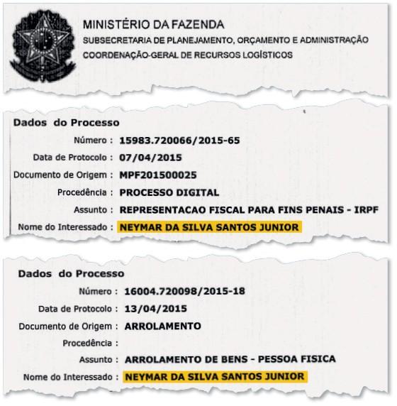 Processos contra Neymar na Receita Federal  (Foto: Reprodução)