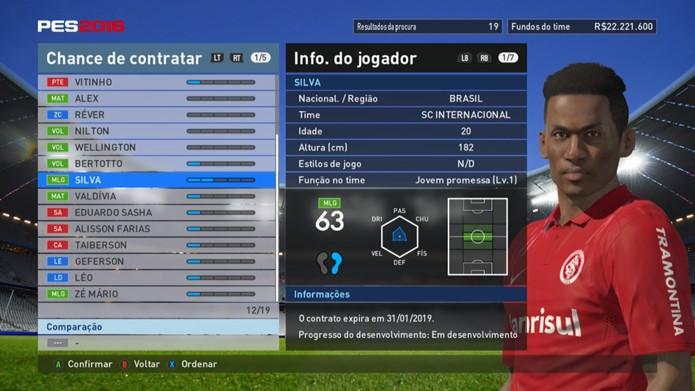 Silva é o meia do Inter na lista de PES 2016 (Foto: Reprodução/Murilo Molina)