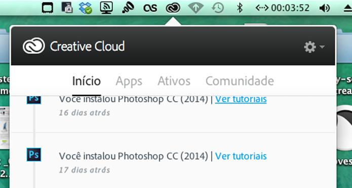 Clique no ícone da Creative Cloud (Foto: Reprodução/André Sugai)