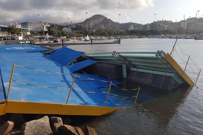 Rampa da Marina da Glória desaba após ventania (Foto: GloboEsporte.com)
