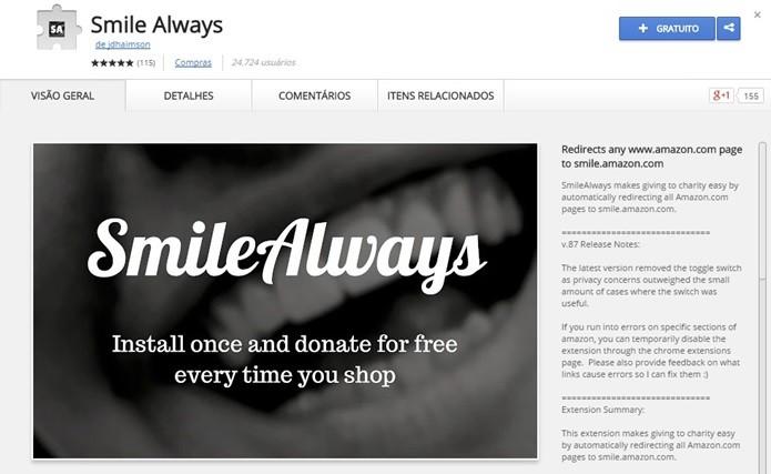 SmileAlways redireciona links da Amazon para AmazonSmile (Foto: Reprodução/Chrome Web Store)