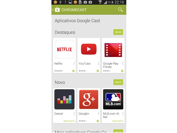 """Categoria """"Chromecast"""" que exibe apps compatíveis (Foto: Reprodução/GooglePlay) (Foto: Categoria """"Chromecast"""" que exibe apps compatíveis (Foto: Reprodução/GooglePlay))"""