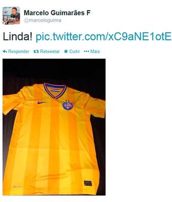 Twitter de Marcelo Guimarães Filho vaza suposta camisa do Bahia (Foto: Reprodução/Twitter)