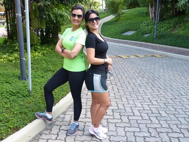 Fátima e Mona prontas para a ginástica (Foto: Encontro com Fátima Bernardes/ TV Globo)