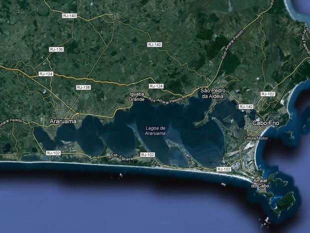 Lagoa de Araruama, na Região dos Lagos, com 220km². (Foto: Reprodução Google Mapa)