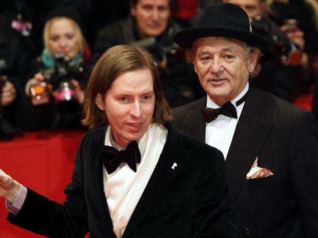 """O diretor Wes Anderson e o ator Bill Murray chegam à sessão de """"The grand Budapest hotel"""", na abertura do 64º Festival de Berlim no dia 6 de fevereiro de 2014 (Foto: AFP Photo/David Gannon)"""