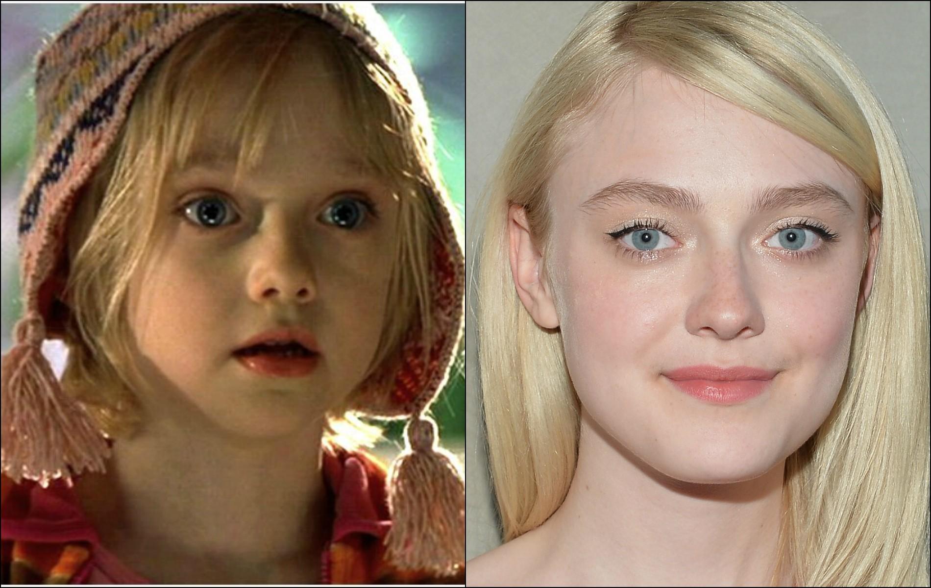 Dakota Fanning estreou em tela grande com 'Uma Lição de Amor' (2001), quando tinha 7 aninhos. Agora tem 20. (Foto: Reprodução e Getty Images)