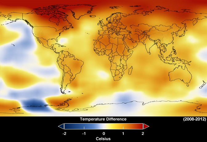 Mapa divulgado pela Nasa mostra anomalias na temperatura global entre 2008 e 2012 (Foto: Divulgação/Nasa)