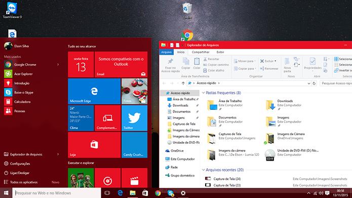 Windows 10 pode ter esquema de cores combinadas a partir de atualização 1 (Foto: Reprodução/Elson de Souza)