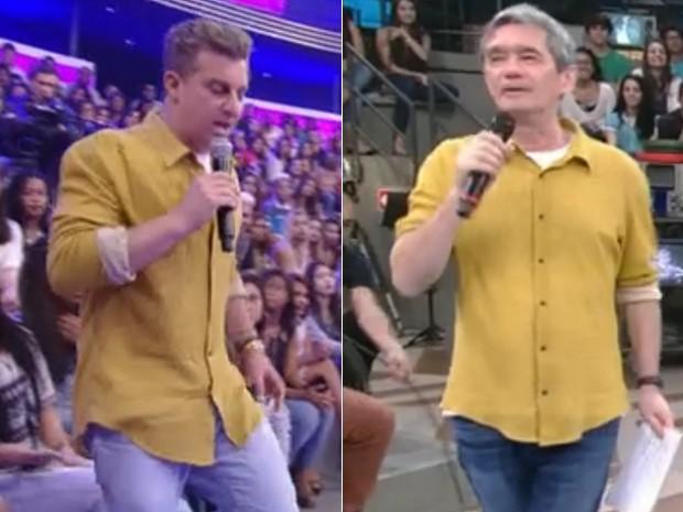 Luciano Huck e Serginho Groisman, no dia 18 de Julho (Foto: Reprodução/Globo)