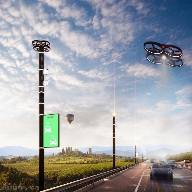 Postes inteligentes e drones estão no projeto rodoviário (Foto: Dexigner)