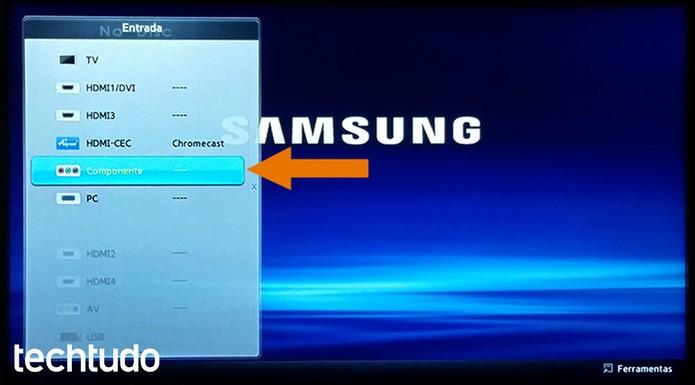 Acesse o menu de entrada do seu DVD Player de forma tradicional (Foto: Barbara Mannara/TechTudo)
