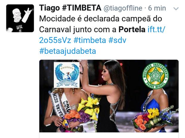Memes sobre a divisão do título de Mocidade e Portela (Foto: Reprodução/Twitter)