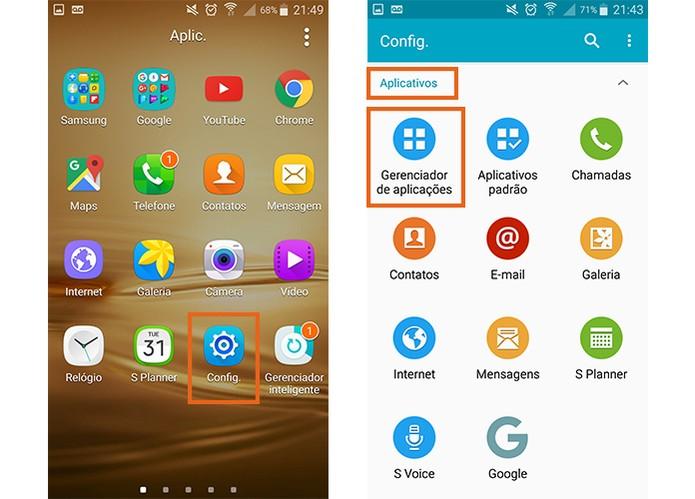 Abra as configurações do Android e acesse o gerenciador de apps (Foto: Reprodução/Barbara Mannara)