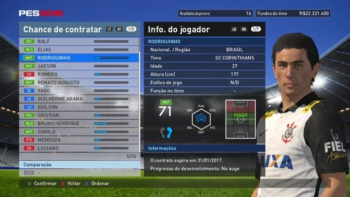 Jogador é o pior jogador de centro do Timão em PES 2016 (Foto: Reprodução/Murilo Molina)