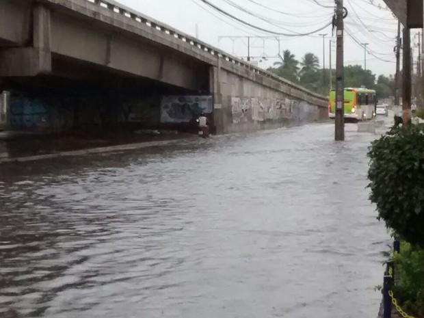 Junto ao viaduto do Complexo do Salgadinho, em Olinda, também há acúmulo de água (Foto: Camila Torres / TV Globo)