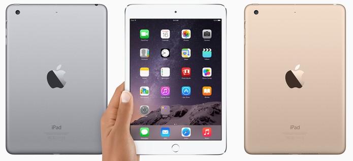 iPad mini 3 é integrado com botão Touch ID e vem nas cores cinza e dourado (Foto: Divulgação/Apple)