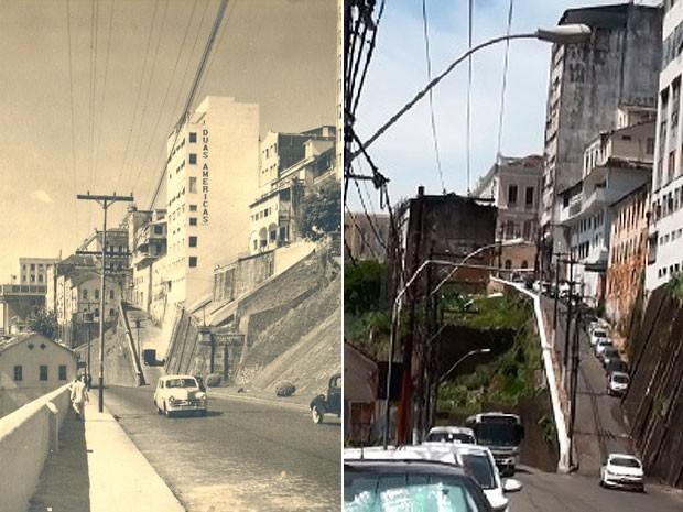 Imagem da Ladeira da Montanha na década de 50 e em 2015. (Foto: Maiana Belo / G1 BA)