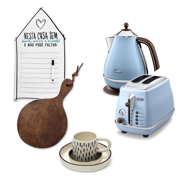 Ímã de geladeira Imaginarium (R$ 59,90), tábua de madeira Il Casalingo (R$ 79), jogo de xícaras UMA (R$ 210), chaleira e torradeira De'Longhi (R$ 629 cada) (Foto: Divulgação)
