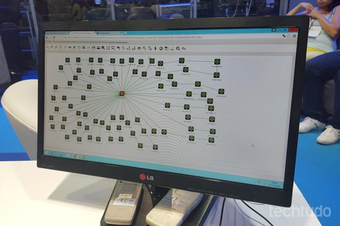 Computador no ovni da CPBR9 resume situação do tráfego de dados dentro do Anhembi (Foto: Thássius Veloso/TechTudo)