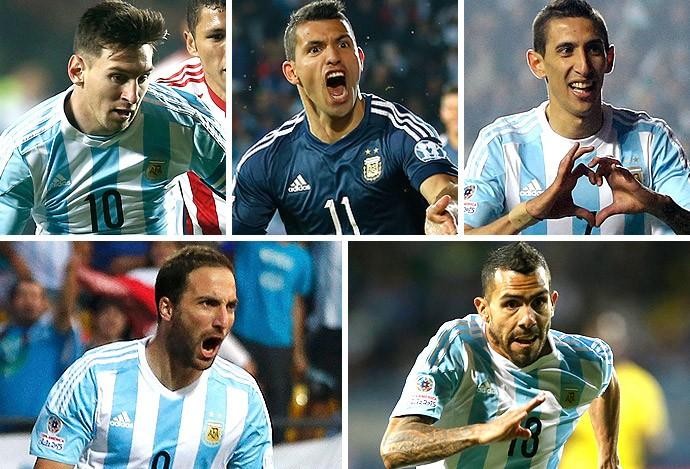 Montagem jogadores Argentina copa américa (Foto: Globoesporte.com)