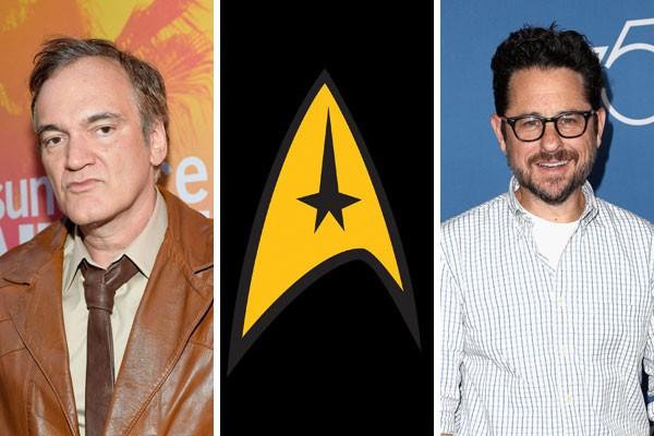 Quentin Tarantino, J.J. Abrams e o símbolo da frota estelar (Foto: Getty Images/reprodução)