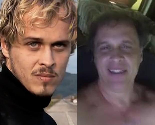 Guilherme Fontes caracterizado como Alexandre da novela A Viagem (1994) e no vídeo em homenagem ao personagem (Foto: Divulgação e reprodução)