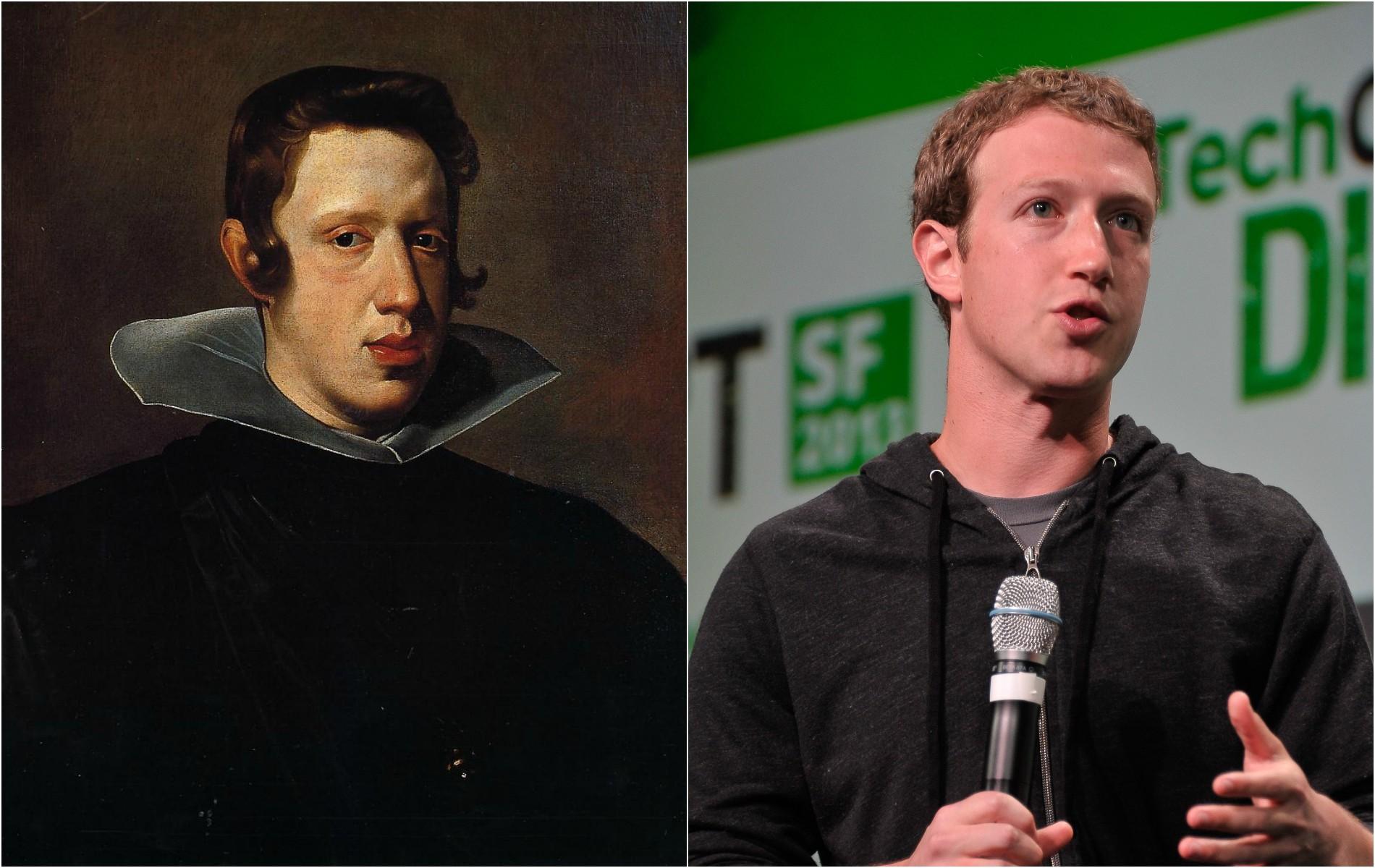 Mark Zuckerberg e o rei Felipe IV da Espanha (1605–1665), que, aliás, também foi retratado por Velázquez. (Foto: Domínio Público e Getty Images)