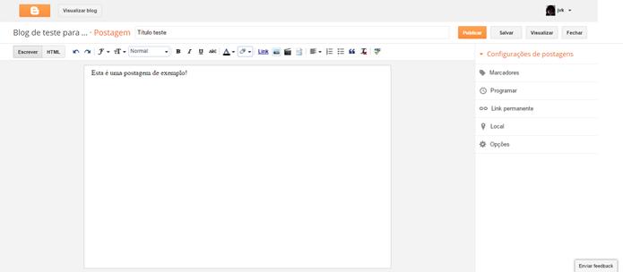 Editor do Blogger permite adicionar conteúdo em HTML (Foto: Reprodução/Blogger) (Foto: Editor do Blogger permite adicionar conteúdo em HTML (Foto: Reprodução/Blogger))