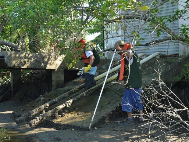 Pontos de despejo de esgoto foram lacrados pela prefeitura de Itapema  (Foto: Luiz Souza/Divulgação)