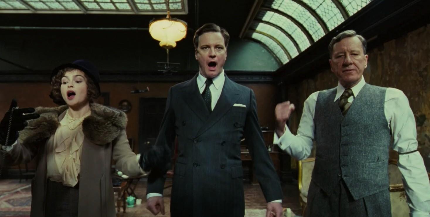 Helena Bonham-Carter, Colin Firth e Geoffrey Rush em 'O Discurso do Rei' (Foto: Divulgação )