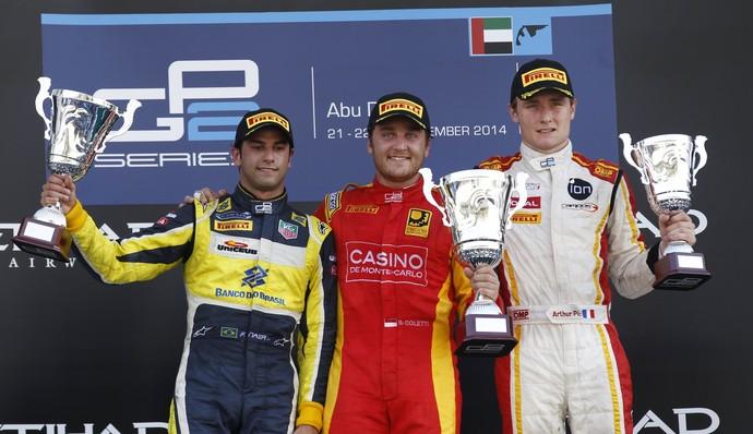 Felipe Nasr no pódio da corrida 2 da GP2 em Abu Dhabi (Foto: Divulgação)