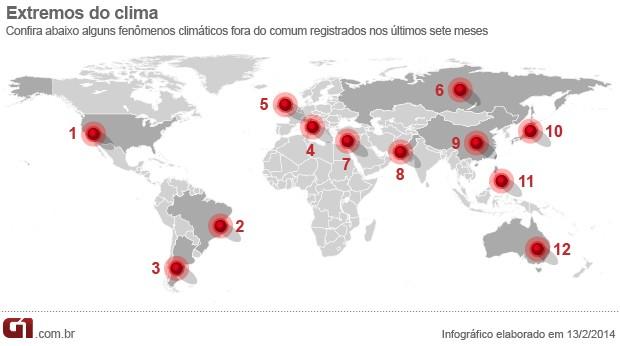 Arte mapa extremos climáticos (Foto: Editoria de Arte/G1)